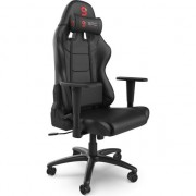Scaun Gaming SPC Gear V2 SR300 BK, Piele ecologica, Functie de balansare, Ajustabil, Doua perne incluse, Manere reglabile pe inaltime, Negru