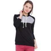 Campus Sutra Black Solid Long Sleeve Cotton Hooded Sweatshirt For Women