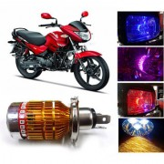 Capeshoppers 3 Led H4 Headlight With Multi Color Flashing Ring For Hero Motocorp Glamour - White