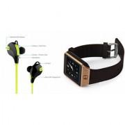 Mirza DZ09 Smartwatch and Jogger Bluetooth Headphone for LG OPTIMUS 3D(DZ09 Smart Watch With 4G Sim Card Memory Card| Jogger Bluetooth Headphone)
