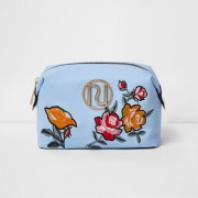 River Island Womens Blue floral embroidered make-up bag