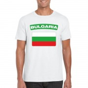 Bellatio Decorations T-shirt met Bulgaarse vlag wit heren