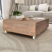 vidaXL Mesa de centro em madeira maciça, castanho