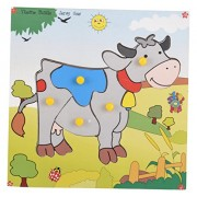 Skillofun Wooden Theme Puzzle Standard Cow Knobs, Multi Color