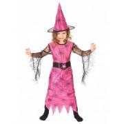 Vegaoo Verkleedkostuum spin heks roze voor meisjes Halloween pak S 110/122 (4-6 jaar)