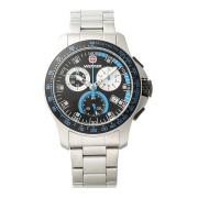 【57%OFF】Battalion Chrono ラウンド クロノグラフ デイト ウォッチ シルバー×ブラック・ブルー×シルバー ファッション > 腕時計~~メンズ 腕時計