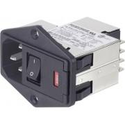 Filtru de retea cu 2 sigurante si intrerupator, 250 V/AC, 6 A, TE Connectivity PS0SXDS6B