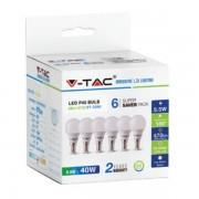 LAMPADINA LED E14 5,5W BIANCO FREDDO A BULBO 6 PEZZI VT-2266-LED2735