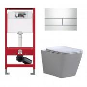 Douche Concurrent Tece Toiletset - Inbouw WC Hangtoilet wandcloset - Alexandria Flatline Rimfree Tece Square Glans Wit