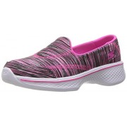 Skechers Kids Girls' Go Walk 4 Sporty Stripes Slip-On Sneaker, Black/Pink Stripes, 11 M US Little Kid