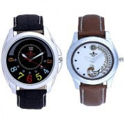 Classical Black Round Dial And Brown Peacock Feathers Colour Couple Casual Analogue Watch By Vivah Mart