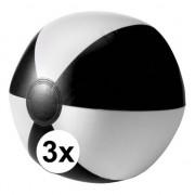 Geen 3x Opblaasbare speelgoed strandballen zwart