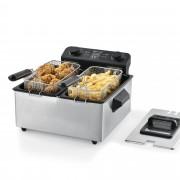 [neu.haus]® Olajsütő dupla fritőz 2x3 Liter 2000W 40 x 40 x 23 cm rozsdamentes acél fekete/ezüst