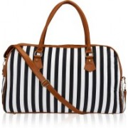 Kleio (Expandable) Striped Spacious Unisex Weekend Travel Duffle Bag for Women / Girls (Black) (ECO2007KL-BL) Travel Duffel Bag(Black)