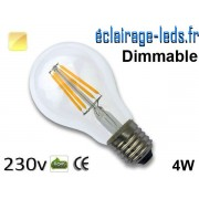 Ampoule led E27 dimmable 4w COB Filament blanc chaud 2700K 230v AC ref e274-2