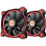 Thermaltake RIING 120mm Red LED Ultra Quiet High Airflow Computer Case Fan CL-F047-PL12RE-A Pack of Two