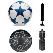 Kit of Bluestar UEFA Champions League Football + Messi Black Football (Size-5) - Pack of 2 Balls with Air Pump & Sipper