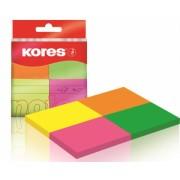 Notes Adeziv 40 x 50 mm 4 Culori Neon x 50 File Kores Notes autoadeziv 38x51 mm asortate