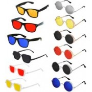 Well Shaded Wayfarer, Round, Rectangular Sunglasses(Black, Red, Blue, Yellow, Silver)