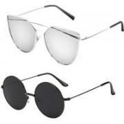 Elligator Round Sunglasses(Silver, Black)