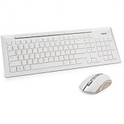 ARION Rapoo 8200P 5G Multimedia Wireless Keyboard and Mouse Combo - GOLD