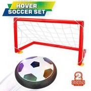 Bonwayer Kids Sports Toys Soccer Football Goal Set Hover Ball with 2 Gates for Kid Gifts Boys Girls Air Power Training Ball Indoor Outdoor Disk Game with LED Lights and Mini Screwdriver