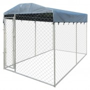 vidaXL Outdoor Dog Kennel with Canopy Top 4x2 m