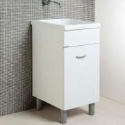Lavatoio in ceramica 44x52 con strizzatoio con mobile bianco