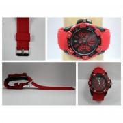 Orologio j-baron con cinturino in plastica rosso quadrante tondo nero indici rossi 1163 (rosso)