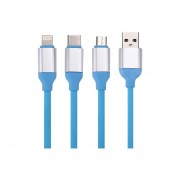 1.2m 2a 3 En 1 Tipo C Y 8 Pin Y Micro Usb A Usb 2.0 Cable Cargador Para El Iphone, Ipad, Samsung, Nokia Y Otros Telefonos Inteligentes (azul)