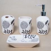 Set de baie, cu 4 accesorii din ceramica, model floral