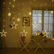 Neil Creation Star Light Curtain String Lights with 12 Hanging Golden Stars 8 Flashing Modes Decoration for Birthday