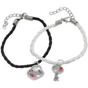 Men Style Best Friend Lock Key Couple Handmade Loves Black White Silver Zinc Leather Bracelet