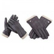 Men's Gallery Seven Fashion Winter Gloves Mens - Lined - Touchscreen Medium Brown-Style 2 Cream Fur