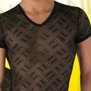 Eros Veneziani T Shirt See Through Criss Cross V Neck 6904