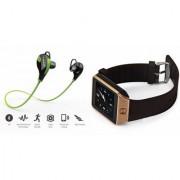 Mirza DZ09 Smartwatch and Jogger Bluetooth Headphone for LG OPTIMUS L3 II DUAL(DZ09 Smart Watch With 4G Sim Card Memory Card| Jogger Bluetooth Headphone)