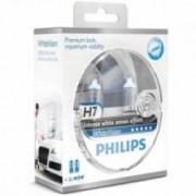 Set 2 becuri auto far halogen Philips H7 White Vision 12V 55W