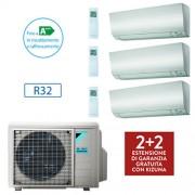 Daikin Brclimatizzatore Daikin Bluevolution Trial Split Perfera Inverter 9000 + 9000 + 9000 Btu / 3mxm52n Gas R32 + Staffe