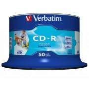 CD-R Verbatim AZO 52X 700MB 50PK SPINDLE WIDE PRINTABLE ID BRANDED (43309)