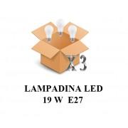 SHOT Confezione 3 Pezzi Lampadina Led Attacco E27 20w Di Consumo Resa 150w Forma Goccia Opale