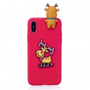 3D Paster Christmas Elk Pattern TPU Protective Case for iPhone X / XS(Red)