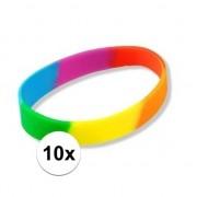Geen 10x Siliconen armbandjes regenboog