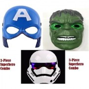 Superhero 3 piece attack Combo of Super hero LED Face Mask Hulk Captain starwar