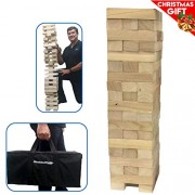 EasyGO Large Stack & Tumble Giant Wood Stacking & Tumble Tower Blocks Game, Stacks to Over 4 Feet Tall!