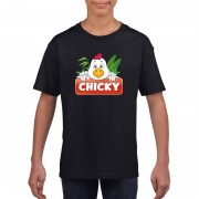 Bellatio Decorations Kippen dieren t-shirt zwart voor kinderen