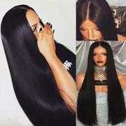 alli Las mujeres peluca larga recta de pelo Negro Mujer
