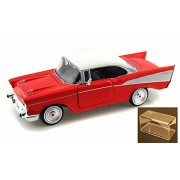 Diecast Car & Accessory Package - 1957 Chevrolet Belair, Red - Motormax 73228 - 1/24 Scale Diecast Model Toy Car w/display case