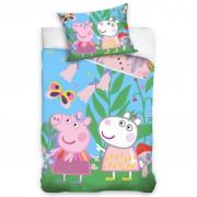 Lenjerie de pat din bumbac pentru copii Purcelușa Peppa Pe Pajiște, 140 x 200 cm, 70 x 90 cm
