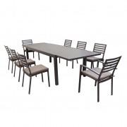 Milani Home DEXTER - set tavolo da giardino allungabile 200/300 x 100 compreso di 6 sedie e 2 poltrone in alluminio
