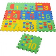 Archana NHR Puzzle Style Mat With Pop Out Numbers And Geometric Shapes 10 Pcs (Interlocking) 12 X 12 Each